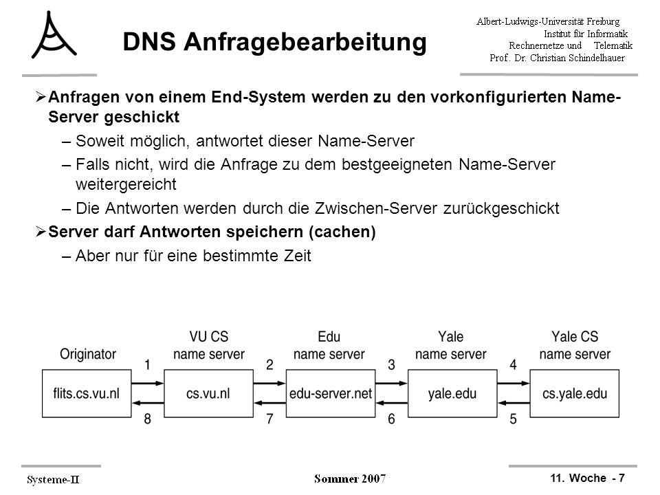 11. Woche - 7 DNS Anfragebearbeitung  Anfragen von einem End-System werden zu den vorkonfigurierten Name- Server geschickt –Soweit möglich, antwortet