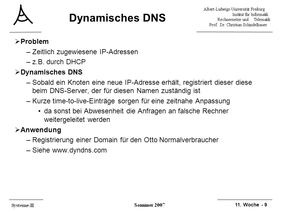 11. Woche - 9 Dynamisches DNS  Problem –Zeitlich zugewiesene IP-Adressen –z.B. durch DHCP  Dynamisches DNS –Sobald ein Knoten eine neue IP-Adresse e