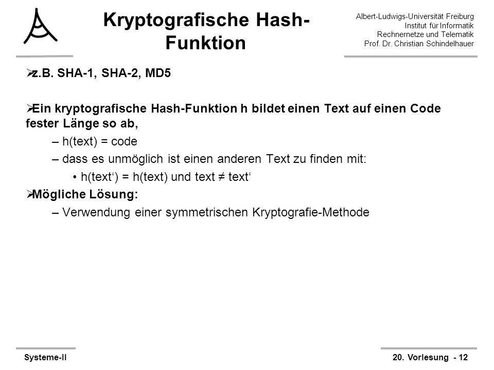 Albert-Ludwigs-Universität Freiburg Institut für Informatik Rechnernetze und Telematik Prof. Dr. Christian Schindelhauer Systeme-II20. Vorlesung - 12