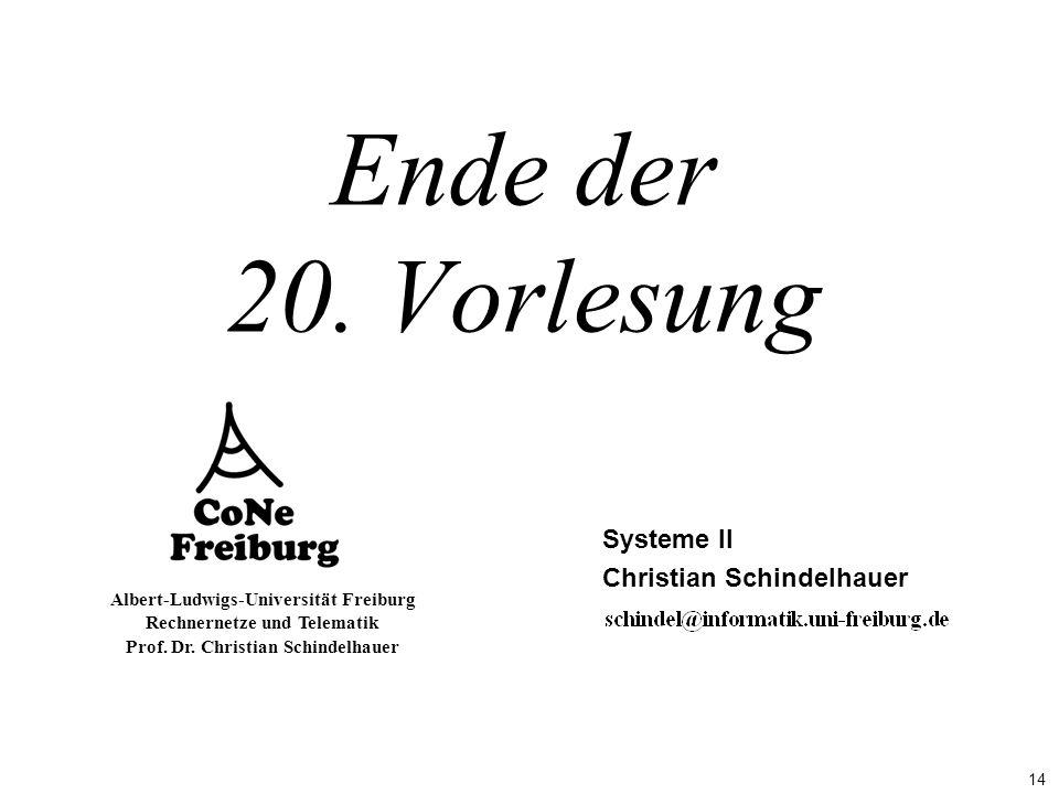 14 Albert-Ludwigs-Universität Freiburg Rechnernetze und Telematik Prof. Dr. Christian Schindelhauer Ende der 20. Vorlesung Systeme II Christian Schind