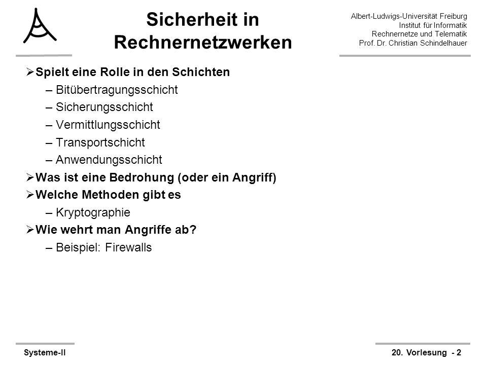 Albert-Ludwigs-Universität Freiburg Institut für Informatik Rechnernetze und Telematik Prof. Dr. Christian Schindelhauer Systeme-II20. Vorlesung - 2 S