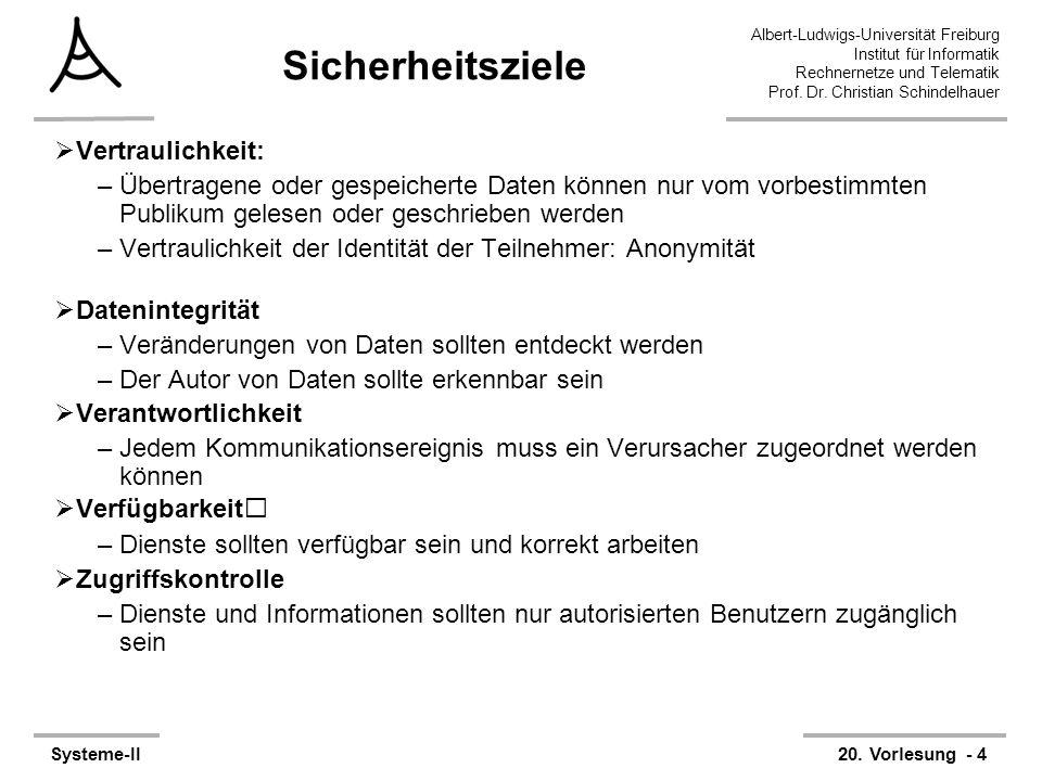 Albert-Ludwigs-Universität Freiburg Institut für Informatik Rechnernetze und Telematik Prof. Dr. Christian Schindelhauer Systeme-II20. Vorlesung - 4 S