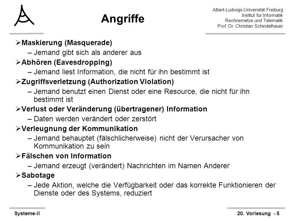 Albert-Ludwigs-Universität Freiburg Institut für Informatik Rechnernetze und Telematik Prof. Dr. Christian Schindelhauer Systeme-II20. Vorlesung - 5 A