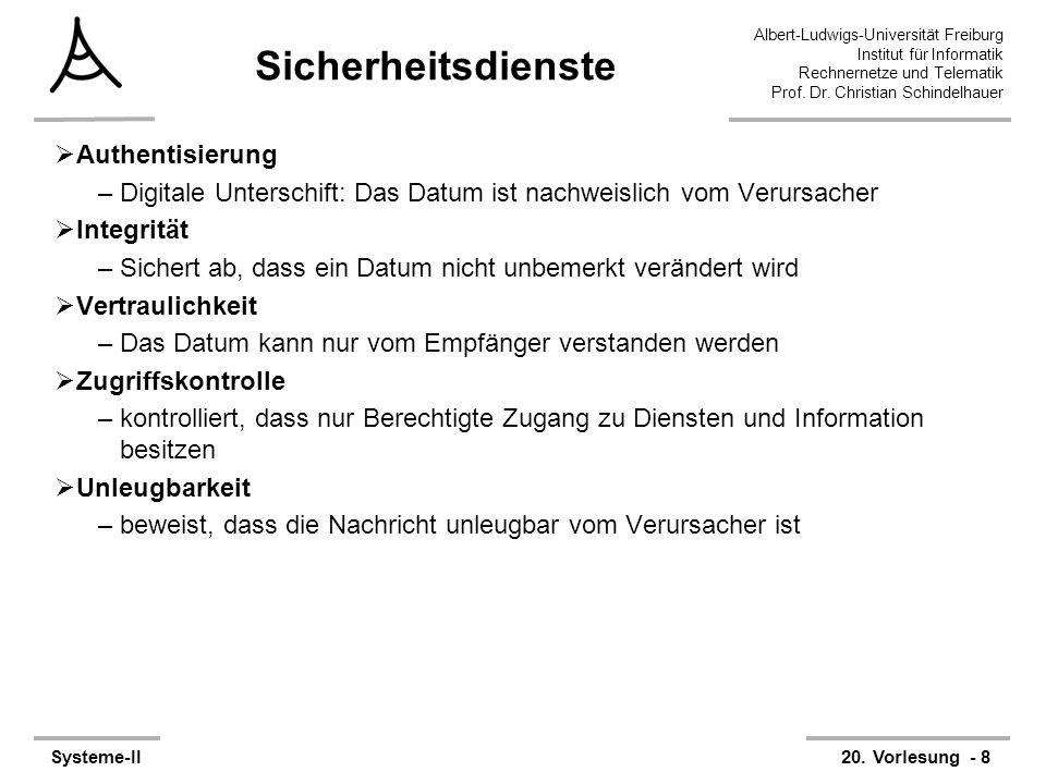 Albert-Ludwigs-Universität Freiburg Institut für Informatik Rechnernetze und Telematik Prof. Dr. Christian Schindelhauer Systeme-II20. Vorlesung - 8 S