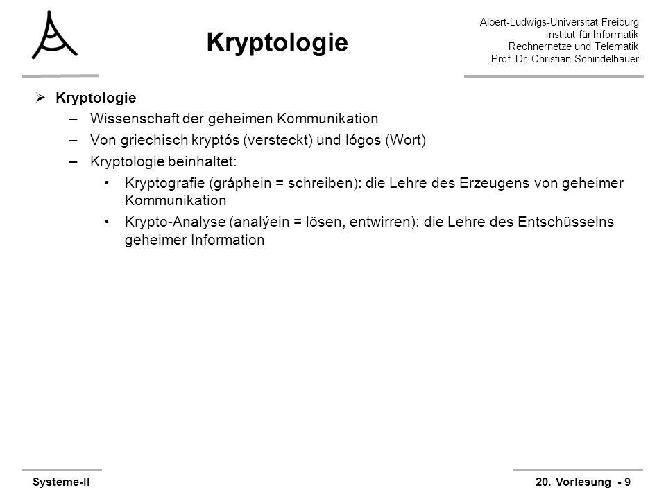 Albert-Ludwigs-Universität Freiburg Institut für Informatik Rechnernetze und Telematik Prof. Dr. Christian Schindelhauer Systeme-II20. Vorlesung - 9 K