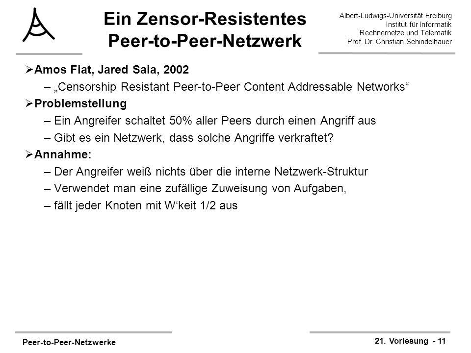 Peer-to-Peer-Netzwerke 21. Vorlesung - 11 Albert-Ludwigs-Universität Freiburg Institut für Informatik Rechnernetze und Telematik Prof. Dr. Christian S