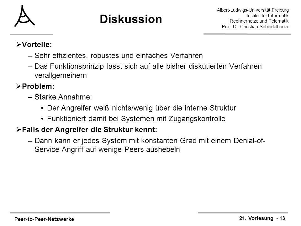 Peer-to-Peer-Netzwerke 21. Vorlesung - 13 Albert-Ludwigs-Universität Freiburg Institut für Informatik Rechnernetze und Telematik Prof. Dr. Christian S