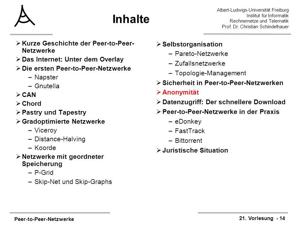 Peer-to-Peer-Netzwerke 21. Vorlesung - 14 Albert-Ludwigs-Universität Freiburg Institut für Informatik Rechnernetze und Telematik Prof. Dr. Christian S