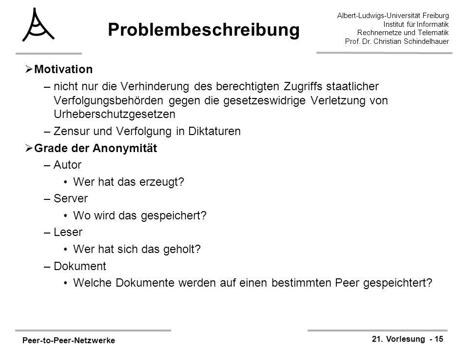 Peer-to-Peer-Netzwerke 21. Vorlesung - 15 Albert-Ludwigs-Universität Freiburg Institut für Informatik Rechnernetze und Telematik Prof. Dr. Christian S