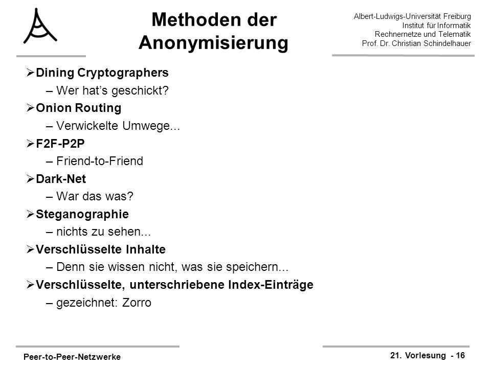 Peer-to-Peer-Netzwerke 21. Vorlesung - 16 Albert-Ludwigs-Universität Freiburg Institut für Informatik Rechnernetze und Telematik Prof. Dr. Christian S