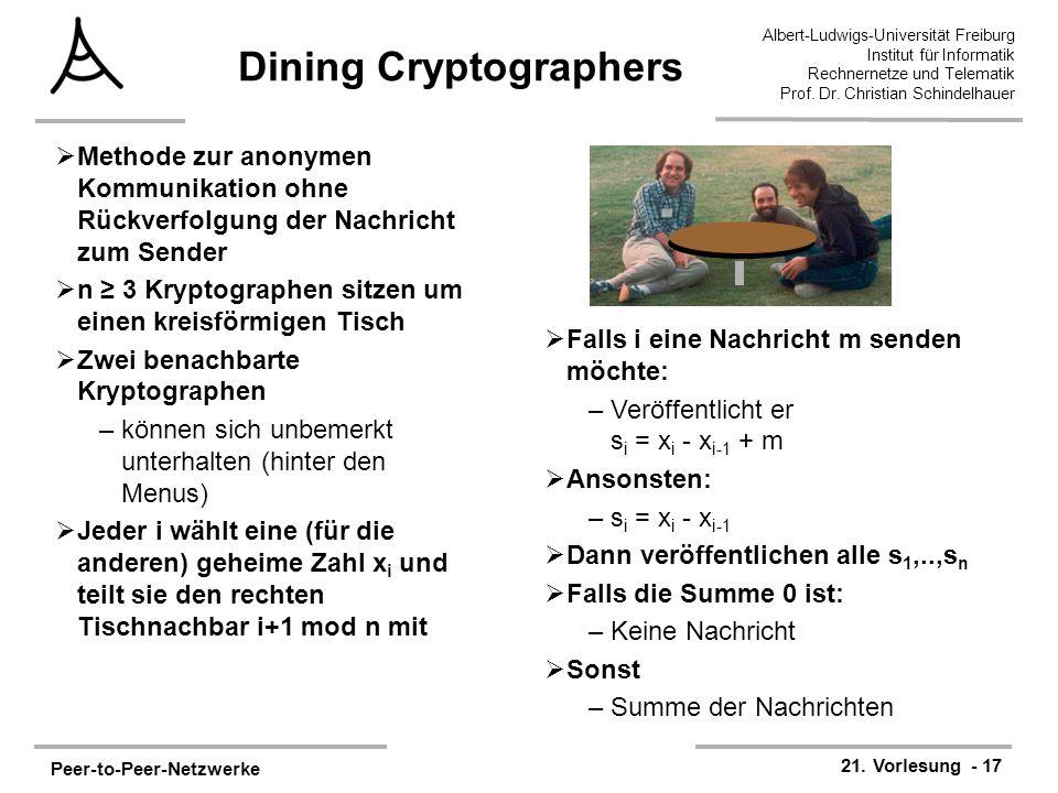 Peer-to-Peer-Netzwerke 21. Vorlesung - 17 Albert-Ludwigs-Universität Freiburg Institut für Informatik Rechnernetze und Telematik Prof. Dr. Christian S