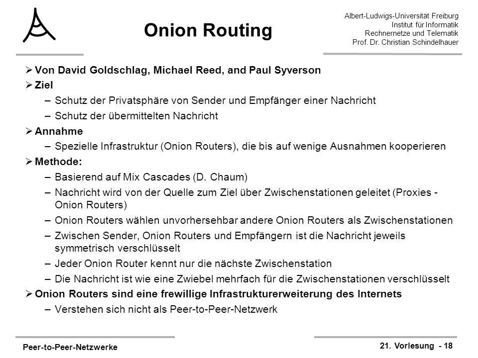 Peer-to-Peer-Netzwerke 21. Vorlesung - 18 Albert-Ludwigs-Universität Freiburg Institut für Informatik Rechnernetze und Telematik Prof. Dr. Christian S