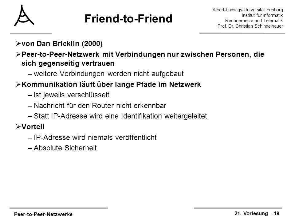 Peer-to-Peer-Netzwerke 21. Vorlesung - 19 Albert-Ludwigs-Universität Freiburg Institut für Informatik Rechnernetze und Telematik Prof. Dr. Christian S