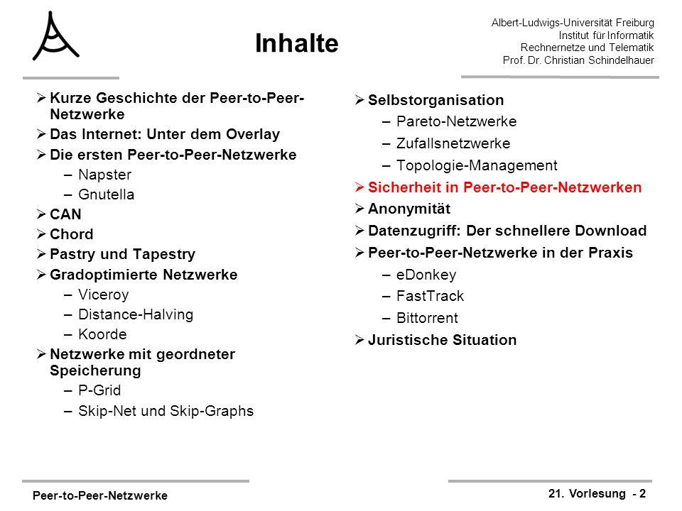 Peer-to-Peer-Netzwerke 21. Vorlesung - 2 Albert-Ludwigs-Universität Freiburg Institut für Informatik Rechnernetze und Telematik Prof. Dr. Christian Sc