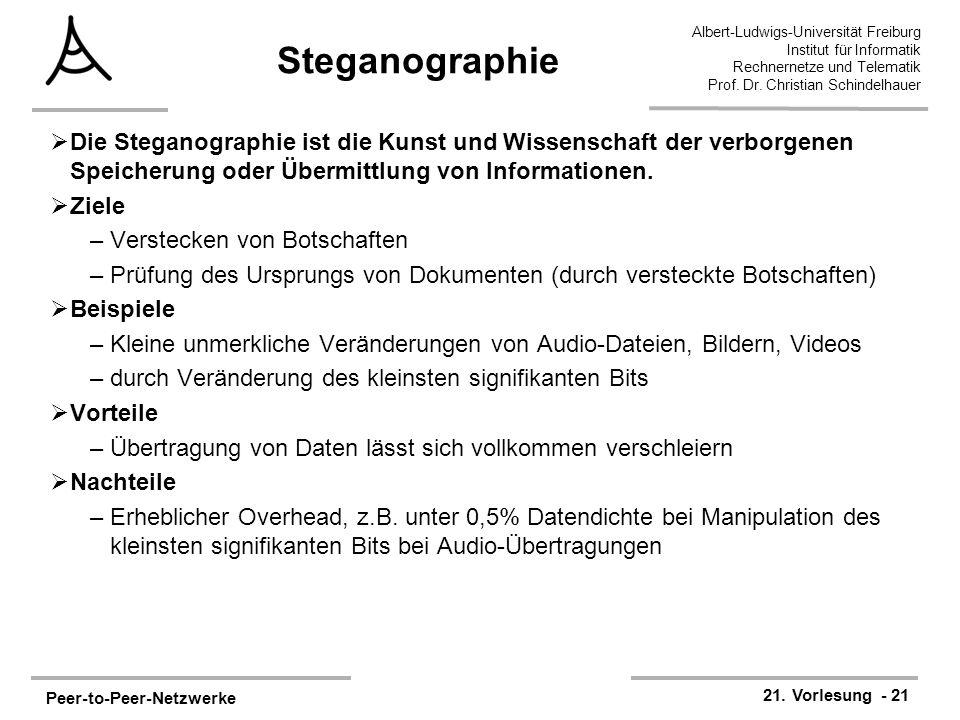 Peer-to-Peer-Netzwerke 21. Vorlesung - 21 Albert-Ludwigs-Universität Freiburg Institut für Informatik Rechnernetze und Telematik Prof. Dr. Christian S