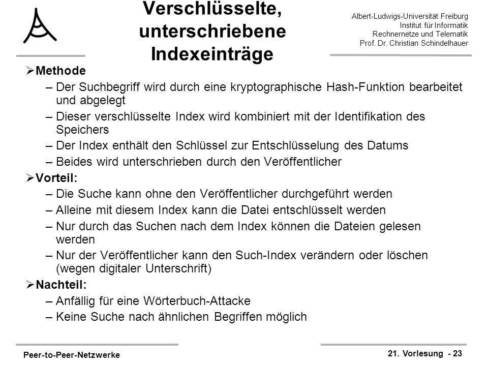 Peer-to-Peer-Netzwerke 21. Vorlesung - 23 Albert-Ludwigs-Universität Freiburg Institut für Informatik Rechnernetze und Telematik Prof. Dr. Christian S