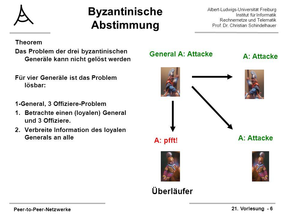 Peer-to-Peer-Netzwerke 21. Vorlesung - 6 Albert-Ludwigs-Universität Freiburg Institut für Informatik Rechnernetze und Telematik Prof. Dr. Christian Sc