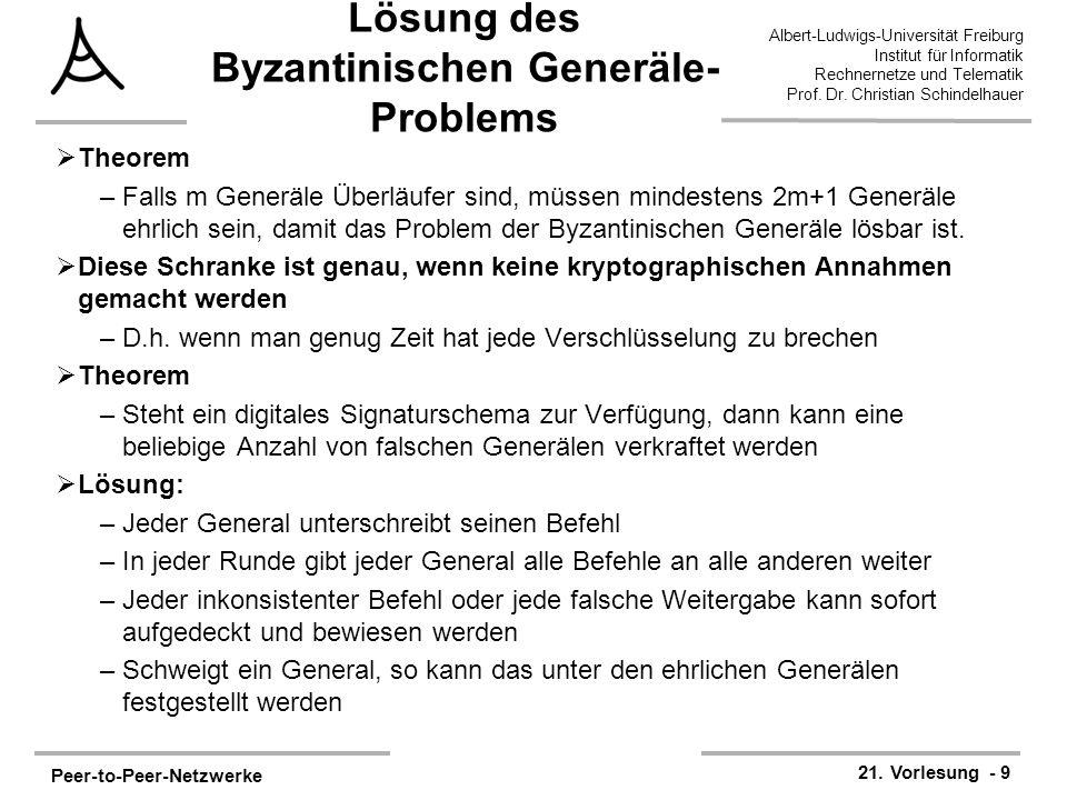 Peer-to-Peer-Netzwerke 21. Vorlesung - 9 Albert-Ludwigs-Universität Freiburg Institut für Informatik Rechnernetze und Telematik Prof. Dr. Christian Sc