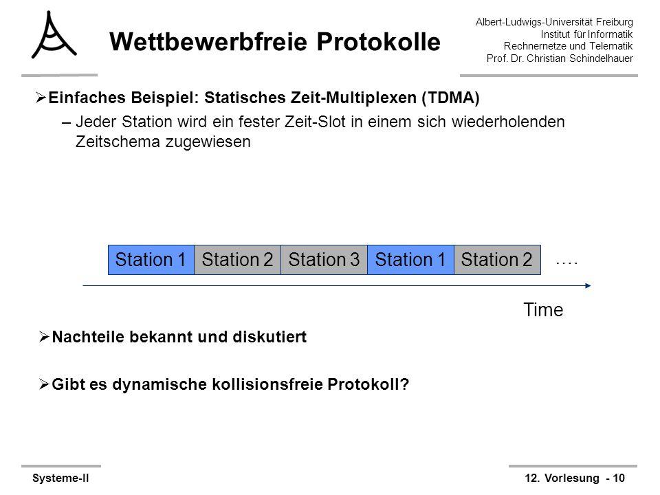 Albert-Ludwigs-Universität Freiburg Institut für Informatik Rechnernetze und Telematik Prof. Dr. Christian Schindelhauer Systeme-II12. Vorlesung - 10