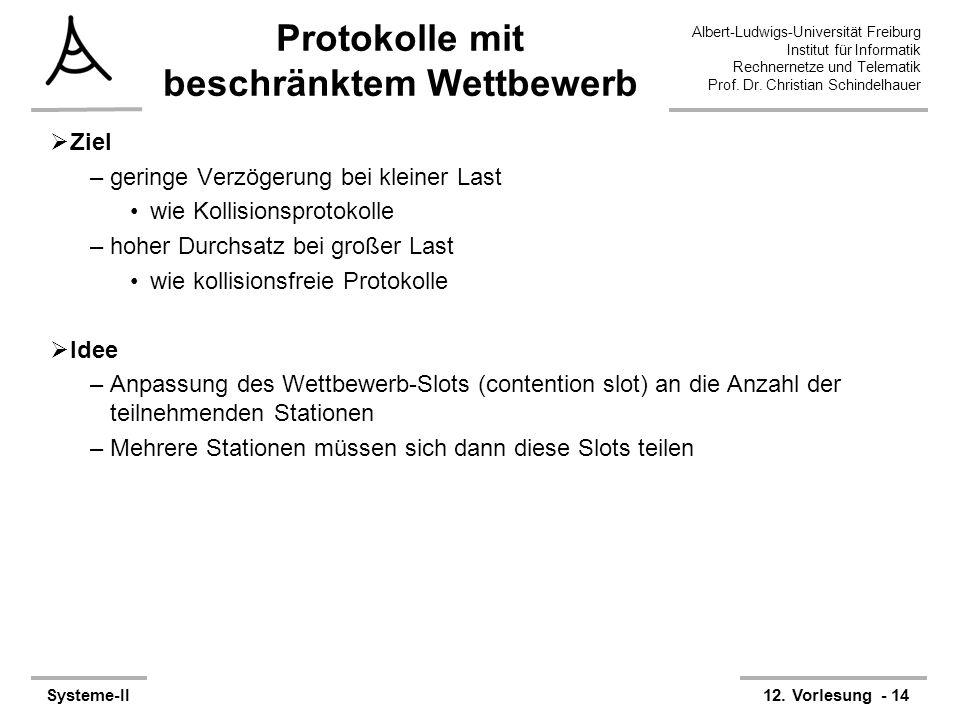 Albert-Ludwigs-Universität Freiburg Institut für Informatik Rechnernetze und Telematik Prof. Dr. Christian Schindelhauer Systeme-II12. Vorlesung - 14