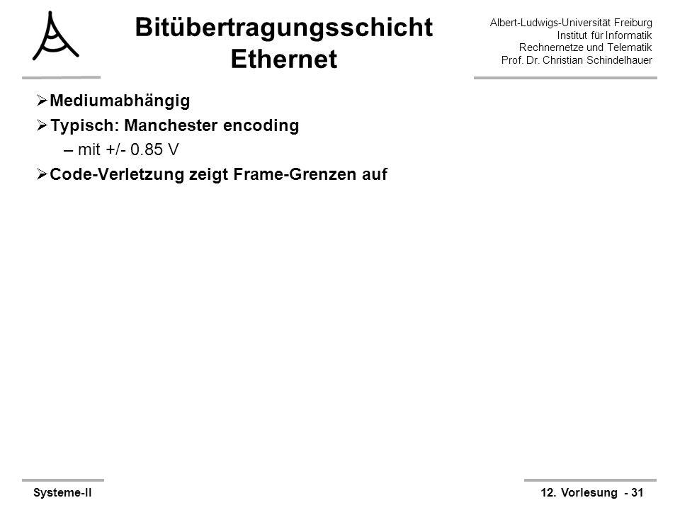 Albert-Ludwigs-Universität Freiburg Institut für Informatik Rechnernetze und Telematik Prof. Dr. Christian Schindelhauer Systeme-II12. Vorlesung - 31