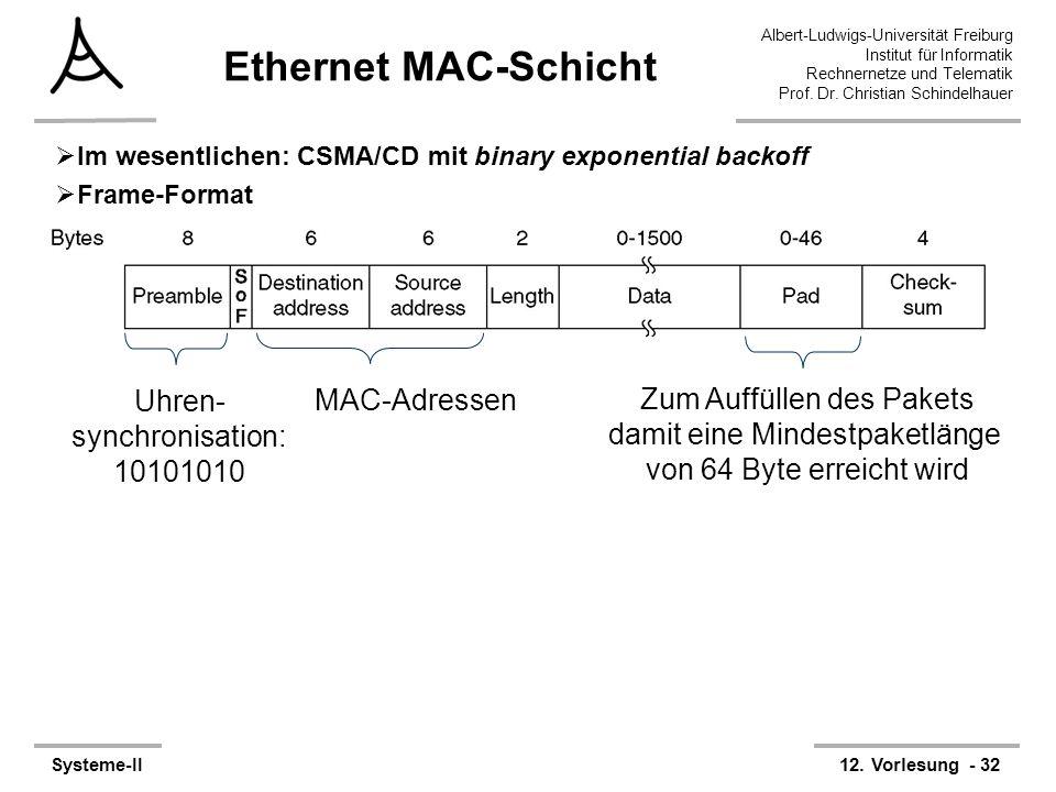 Albert-Ludwigs-Universität Freiburg Institut für Informatik Rechnernetze und Telematik Prof. Dr. Christian Schindelhauer Systeme-II12. Vorlesung - 32