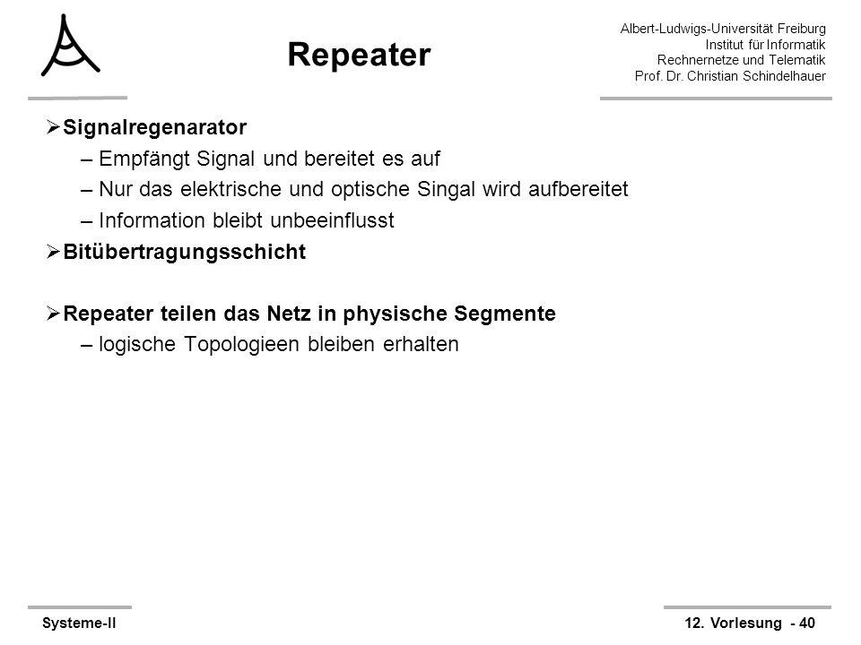 Albert-Ludwigs-Universität Freiburg Institut für Informatik Rechnernetze und Telematik Prof. Dr. Christian Schindelhauer Systeme-II12. Vorlesung - 40