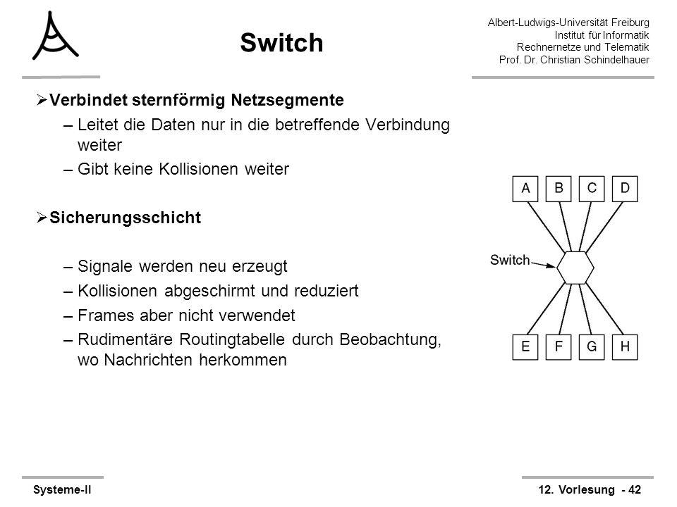 Albert-Ludwigs-Universität Freiburg Institut für Informatik Rechnernetze und Telematik Prof. Dr. Christian Schindelhauer Systeme-II12. Vorlesung - 42