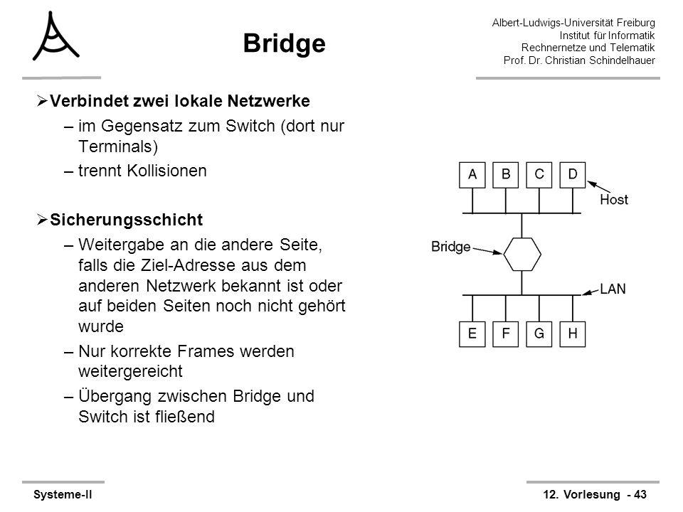 Albert-Ludwigs-Universität Freiburg Institut für Informatik Rechnernetze und Telematik Prof. Dr. Christian Schindelhauer Systeme-II12. Vorlesung - 43