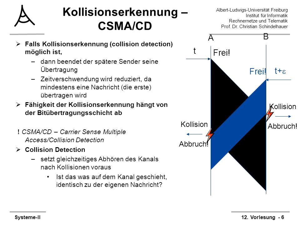 Albert-Ludwigs-Universität Freiburg Institut für Informatik Rechnernetze und Telematik Prof. Dr. Christian Schindelhauer Systeme-II12. Vorlesung - 6 K