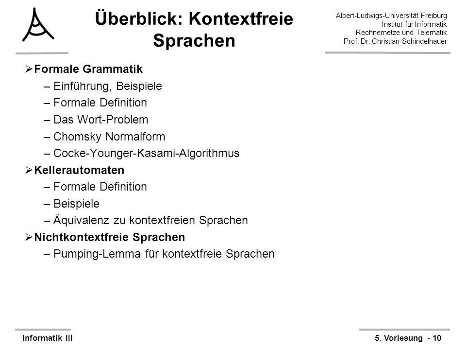 Albert-Ludwigs-Universität Freiburg Institut für Informatik Rechnernetze und Telematik Prof. Dr. Christian Schindelhauer Informatik III5. Vorlesung -