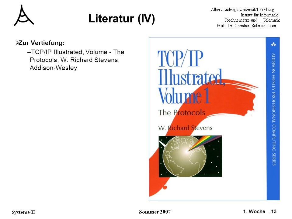 1. Woche - 13 Literatur (IV)  Zur Vertiefung: –TCP/IP Illustrated, Volume - The Protocols, W. Richard Stevens, Addison-Wesley
