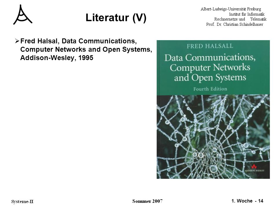 1. Woche - 14 Literatur (V)  Fred Halsal, Data Communications, Computer Networks and Open Systems, Addison-Wesley, 1995