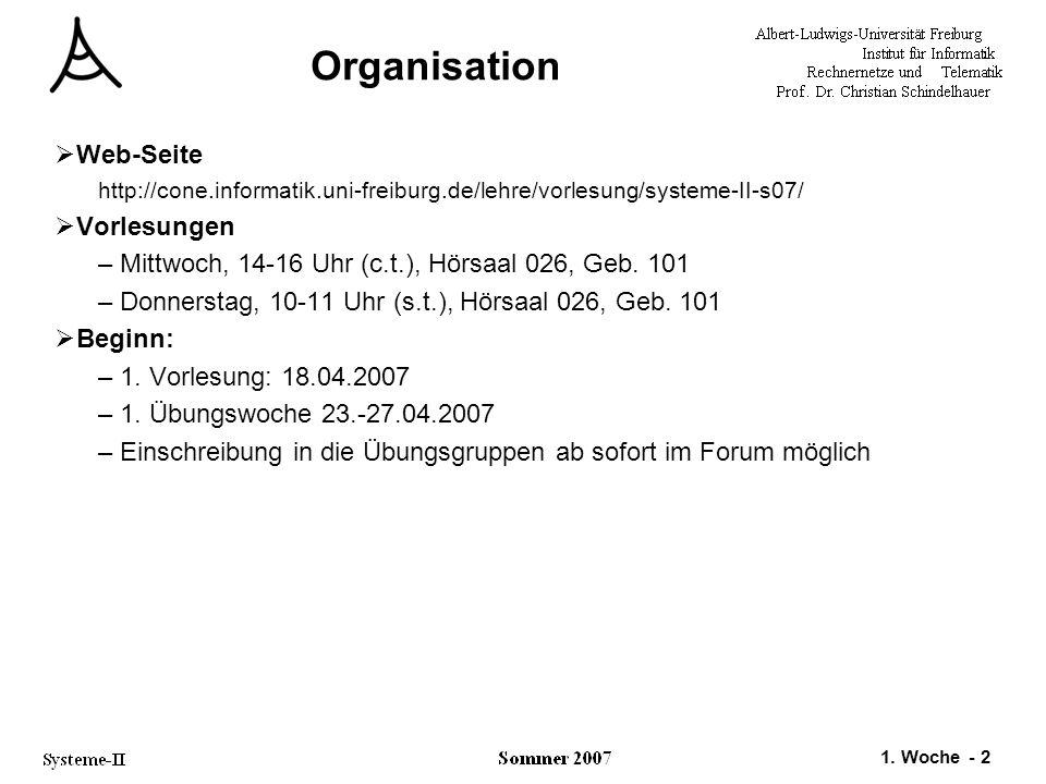 1. Woche - 2 Organisation  Web-Seite http://cone.informatik.uni-freiburg.de/lehre/vorlesung/systeme-II-s07/  Vorlesungen –Mittwoch, 14-16 Uhr (c.t.)