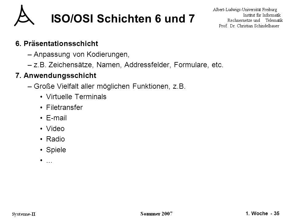 1. Woche - 35 ISO/OSI Schichten 6 und 7 6. Präsentationsschicht –Anpassung von Kodierungen, –z.B. Zeichensätze, Namen, Addressfelder, Formulare, etc.