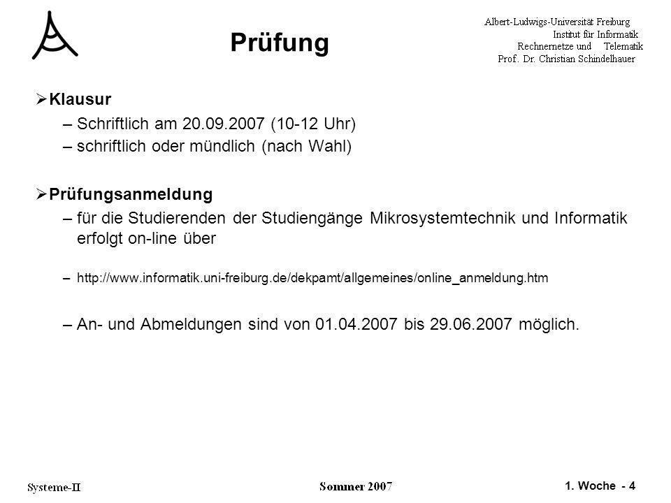 1. Woche - 4 Prüfung  Klausur –Schriftlich am 20.09.2007 (10-12 Uhr) –schriftlich oder mündlich (nach Wahl)  Prüfungsanmeldung –für die Studierenden