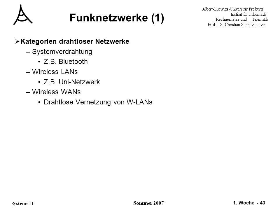 1. Woche - 43 Funknetzwerke (1)  Kategorien drahtloser Netzwerke –Systemverdrahtung Z.B. Bluetooth –Wireless LANs Z.B. Uni-Netzwerk –Wireless WANs Dr