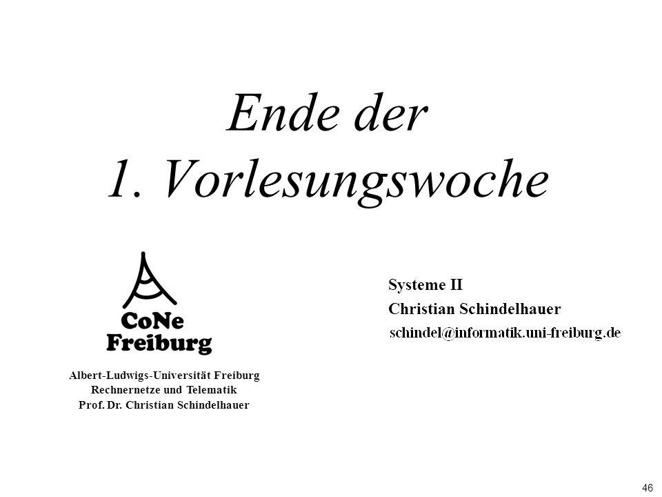 46 Albert-Ludwigs-Universität Freiburg Rechnernetze und Telematik Prof. Dr. Christian Schindelhauer Ende der 1. Vorlesungswoche Systeme II Christian S