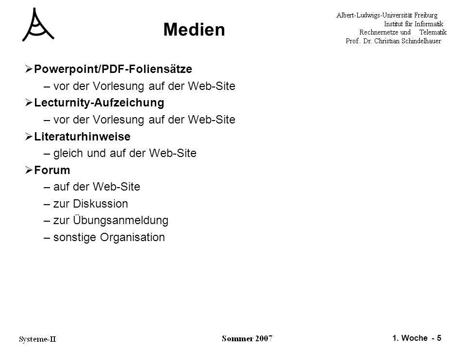 1. Woche - 5 Medien  Powerpoint/PDF-Foliensätze –vor der Vorlesung auf der Web-Site  Lecturnity-Aufzeichung –vor der Vorlesung auf der Web-Site  Li