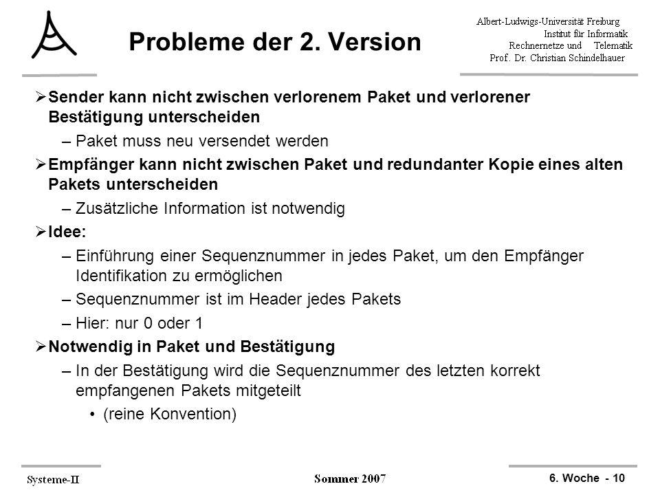 6. Woche - 10 Probleme der 2. Version  Sender kann nicht zwischen verlorenem Paket und verlorener Bestätigung unterscheiden –Paket muss neu versendet