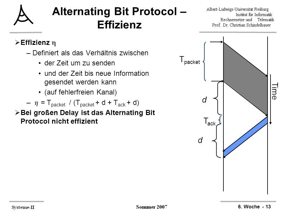 6. Woche - 13 T ack Time d T packet d Alternating Bit Protocol – Effizienz  Effizienz  –Definiert als das Verhältnis zwischen der Zeit um zu senden