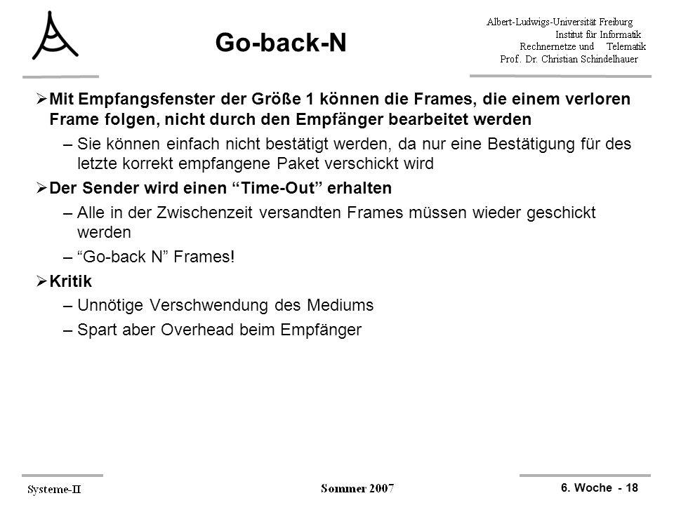 6. Woche - 18 Go-back-N  Mit Empfangsfenster der Größe 1 können die Frames, die einem verloren Frame folgen, nicht durch den Empfänger bearbeitet wer