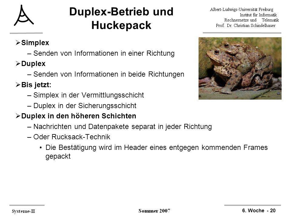 6. Woche - 20 Duplex-Betrieb und Huckepack  Simplex –Senden von Informationen in einer Richtung  Duplex –Senden von Informationen in beide Richtunge
