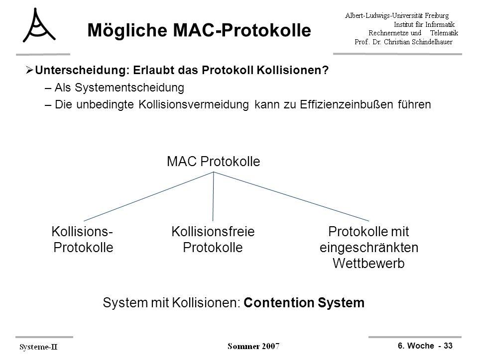 6. Woche - 33 Mögliche MAC-Protokolle  Unterscheidung: Erlaubt das Protokoll Kollisionen? –Als Systementscheidung –Die unbedingte Kollisionsvermeidun