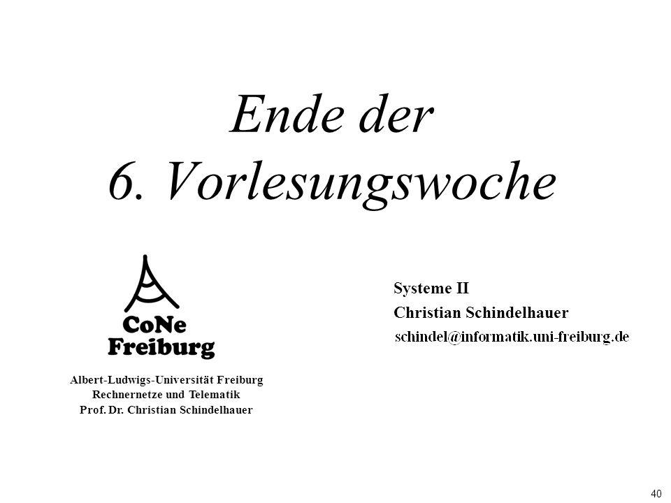 40 Albert-Ludwigs-Universität Freiburg Rechnernetze und Telematik Prof. Dr. Christian Schindelhauer Ende der 6. Vorlesungswoche Systeme II Christian S