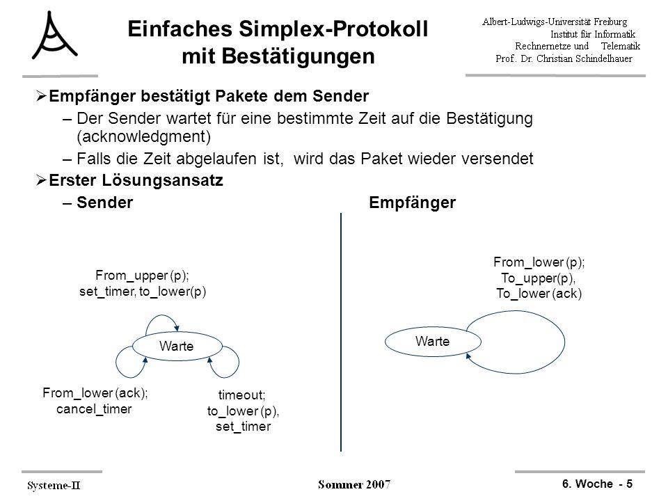 6. Woche - 5 Einfaches Simplex-Protokoll mit Bestätigungen  Empfänger bestätigt Pakete dem Sender –Der Sender wartet für eine bestimmte Zeit auf die