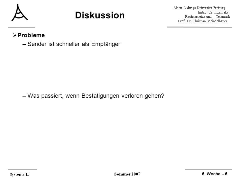 6. Woche - 6 Diskussion  Probleme –Sender ist schneller als Empfänger –Was passiert, wenn Bestätigungen verloren gehen?