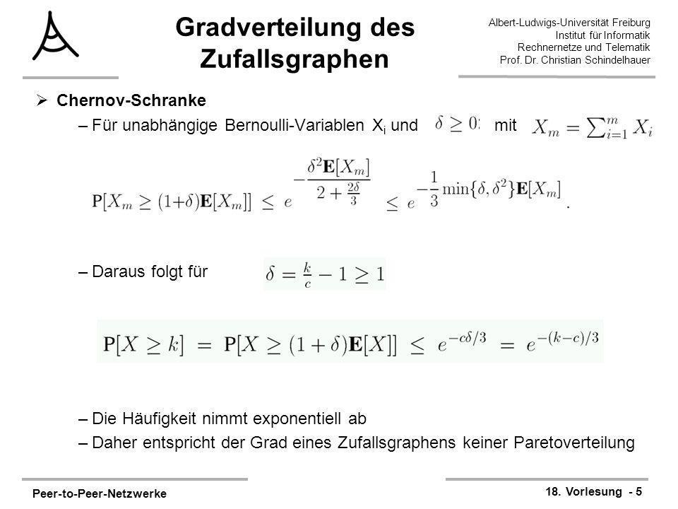 Peer-to-Peer-Netzwerke 18. Vorlesung - 5 Albert-Ludwigs-Universität Freiburg Institut für Informatik Rechnernetze und Telematik Prof. Dr. Christian Sc