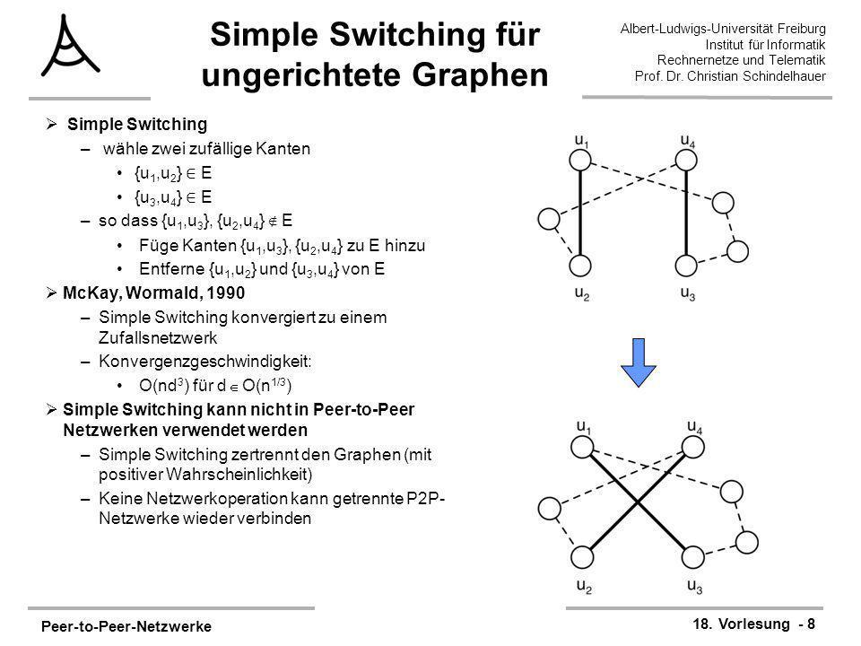 Peer-to-Peer-Netzwerke 18. Vorlesung - 8 Albert-Ludwigs-Universität Freiburg Institut für Informatik Rechnernetze und Telematik Prof. Dr. Christian Sc
