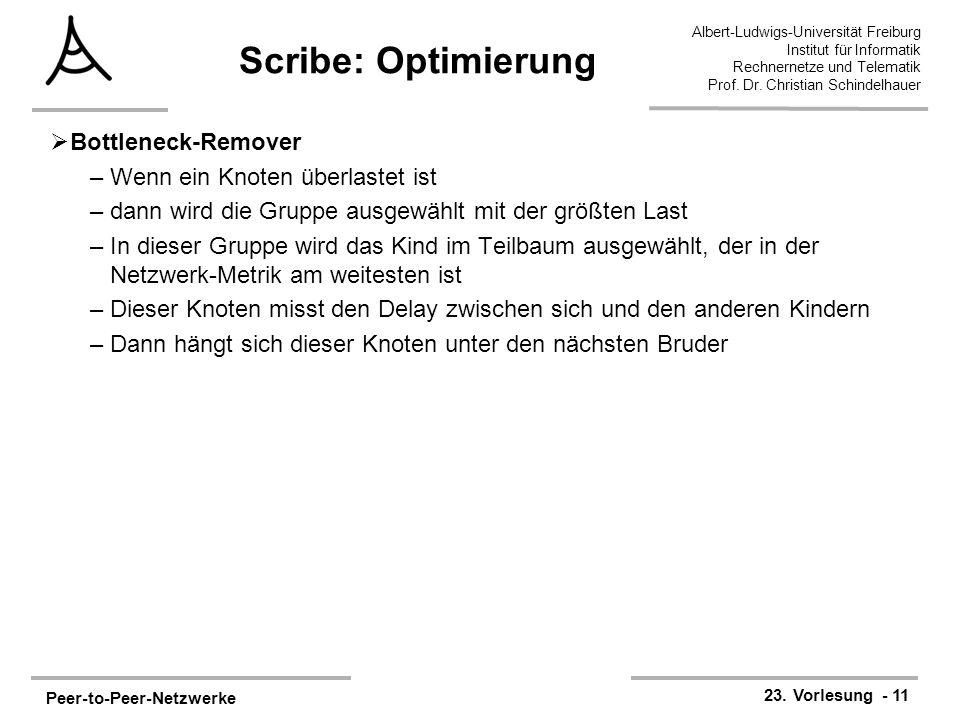 Peer-to-Peer-Netzwerke 23. Vorlesung - 11 Albert-Ludwigs-Universität Freiburg Institut für Informatik Rechnernetze und Telematik Prof. Dr. Christian S